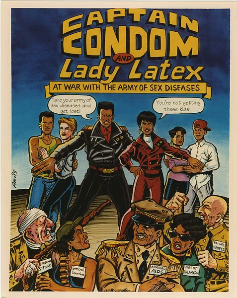 AIDS COMIC BOOK: CAPTAIN CONDOM AND LADY LATEX AT WAR WITH THE ARMY OF SEX DISEASES. US ARMY, UNITED STATES, 1991 (AFIP)