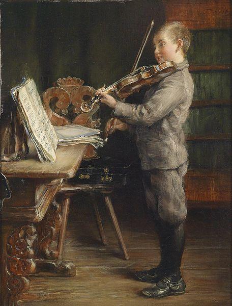 Bild: Violine spielender knabe - Otto Piltz